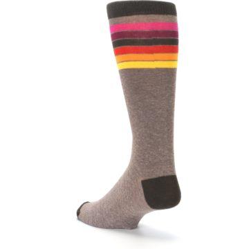 Image of Brown Multi Stripe XL Men's Dress Socks (side-2-back-15)