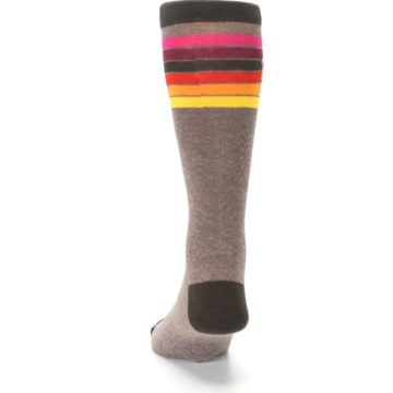 Image of Brown Multi Stripe XL Men's Dress Socks (back-17)