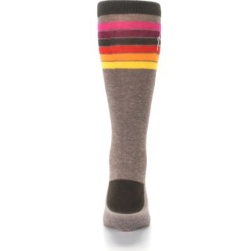 Image of Brown Multi Stripe XL Men's Dress Socks (back-18)