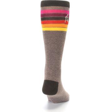 Image of Brown Multi Stripe XL Men's Dress Socks (back-19)