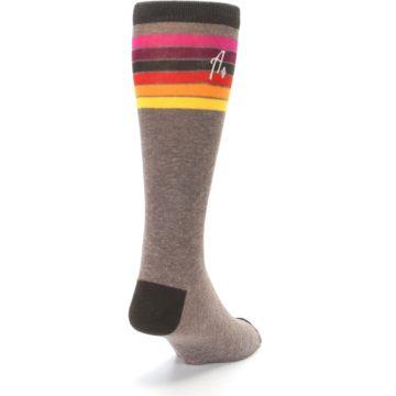 Image of Brown Multi Stripe XL Men's Dress Socks (side-1-back-20)