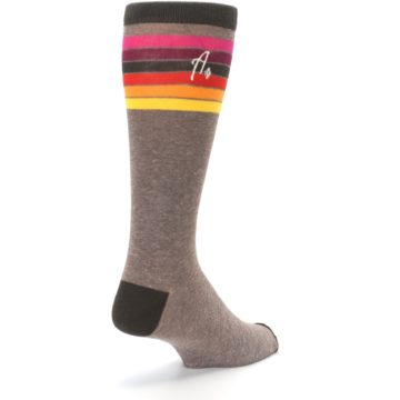 Image of Brown Multi Stripe XL Men's Dress Socks (side-1-back-21)