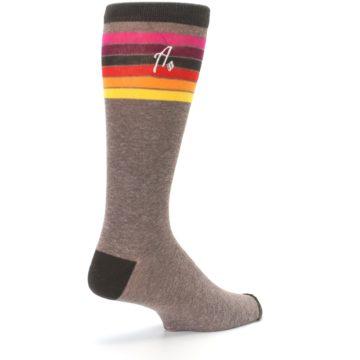 Image of Brown Multi Stripe XL Men's Dress Socks (side-1-back-22)