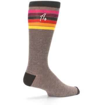 Image of Brown Multi Stripe XL Men's Dress Socks (side-1-23)