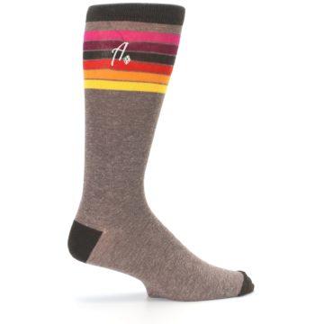 Image of Brown Multi Stripe XL Men's Dress Socks (side-1-24)