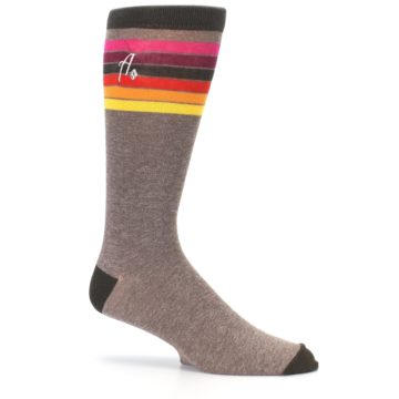 Image of Brown Multi Stripe XL Men's Dress Socks (side-1-25)
