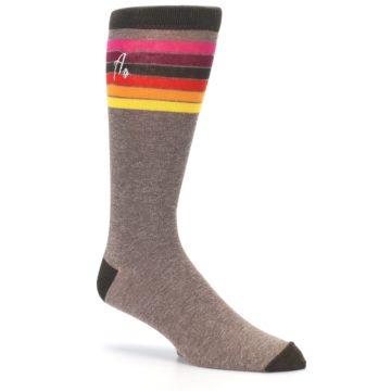 Image of Brown Multi Stripe XL Men's Dress Socks (side-1-26)