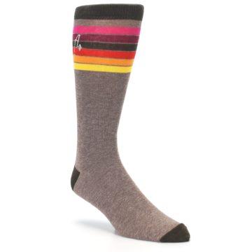 Image of Brown Multi Stripe XL Men's Dress Socks (side-1-27)