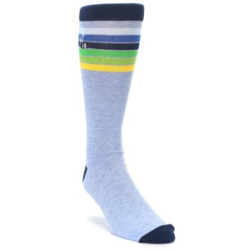 Image of Light Blue Navy Multi Stripe XL Men's Dress Socks (side-1-front-02)