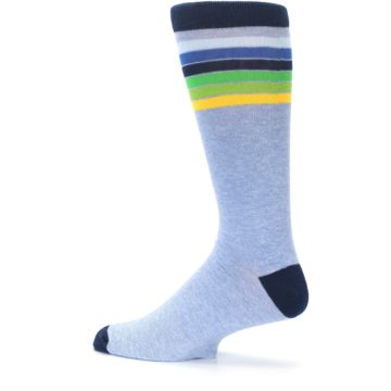Image of Light Blue Navy Multi Stripe XL Men's Dress Socks (side-2-13)