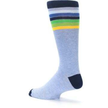 Image of Light Blue Navy Multi Stripe XL Men's Dress Socks (side-2-back-14)