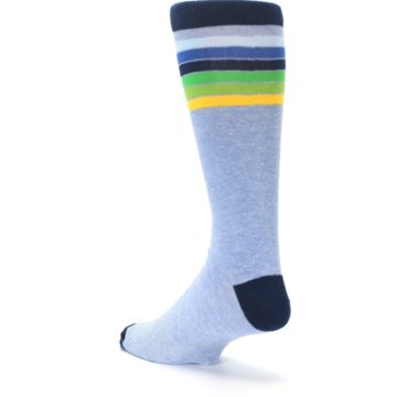Image of Light Blue Navy Multi Stripe XL Men's Dress Socks (side-2-back-15)