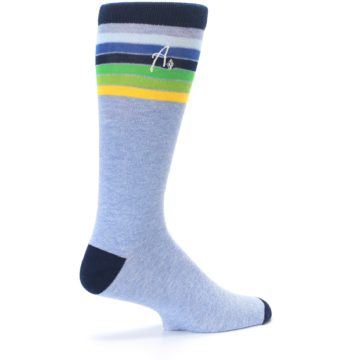 Image of Light Blue Navy Multi Stripe XL Men's Dress Socks (side-1-23)