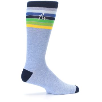 Image of Light Blue Navy Multi Stripe XL Men's Dress Socks (side-1-24)
