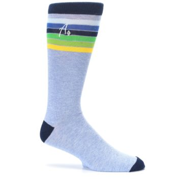 Image of Light Blue Navy Multi Stripe XL Men's Dress Socks (side-1-25)