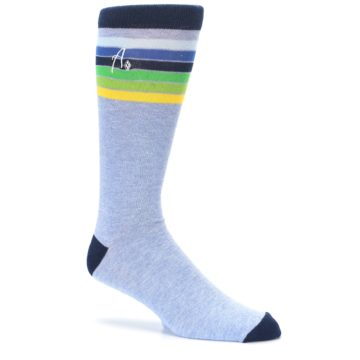 Image of Light Blue Navy Multi Stripe XL Men's Dress Socks (side-1-26)