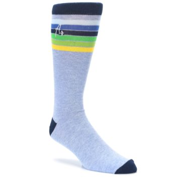 Image of Light Blue Navy Multi Stripe XL Men's Dress Socks (side-1-27)