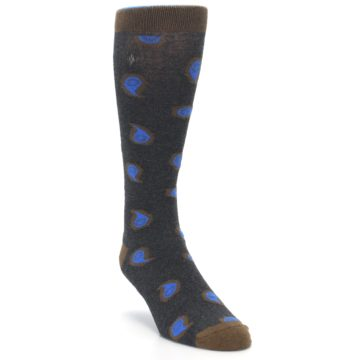 Image of Charcoal Brown Blue Paisley XL Men's Dress Socks (side-1-front-02)