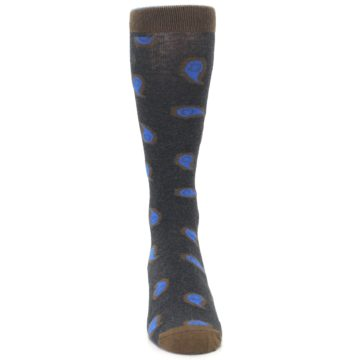Image of Charcoal Brown Blue Paisley XL Men's Dress Socks (front-04)