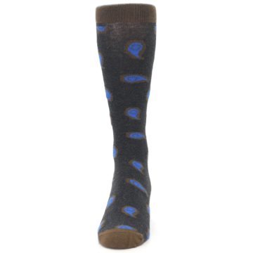 Image of Charcoal Brown Blue Paisley XL Men's Dress Socks (front-05)