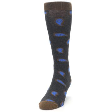 Image of Charcoal Brown Blue Paisley XL Men's Dress Socks (side-2-front-06)
