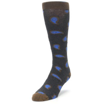 Image of Charcoal Brown Blue Paisley XL Men's Dress Socks (side-2-front-07)