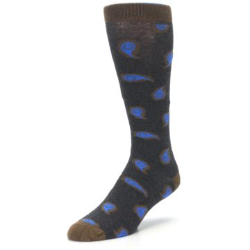 Image of Charcoal Brown Blue Paisley XL Men's Dress Socks (side-2-front-08)