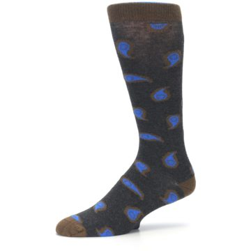 Image of Charcoal Brown Blue Paisley XL Men's Dress Socks (side-2-10)