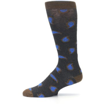 Image of Charcoal Brown Blue Paisley XL Men's Dress Socks (side-2-11)