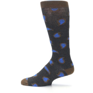 Image of Charcoal Brown Blue Paisley XL Men's Dress Socks (side-2-12)