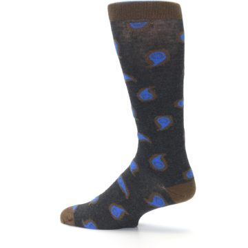 Image of Charcoal Brown Blue Paisley XL Men's Dress Socks (side-2-13)