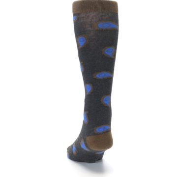 Image of Charcoal Brown Blue Paisley XL Men's Dress Socks (back-17)