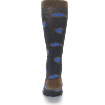 Image of Charcoal Brown Blue Paisley XL Men's Dress Socks (back-18)