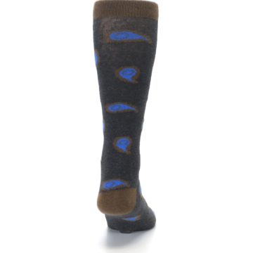 Image of Charcoal Brown Blue Paisley XL Men's Dress Socks (back-19)