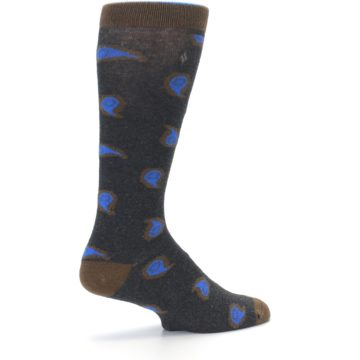 Image of Charcoal Brown Blue Paisley XL Men's Dress Socks (side-1-23)