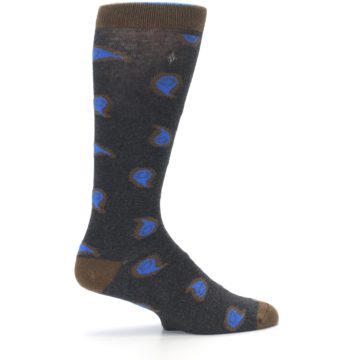 Image of Charcoal Brown Blue Paisley XL Men's Dress Socks (side-1-24)