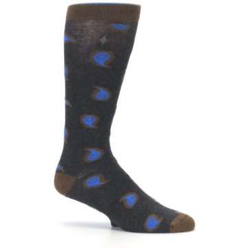 Image of Charcoal Brown Blue Paisley XL Men's Dress Socks (side-1-25)