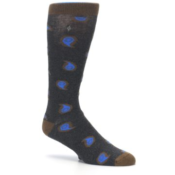 Image of Charcoal Brown Blue Paisley XL Men's Dress Socks (side-1-26)