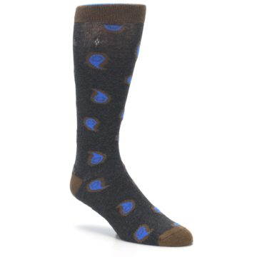 Image of Charcoal Brown Blue Paisley XL Men's Dress Socks (side-1-27)