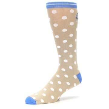 Image of Tan Blue White Dots XL Men's Dress Socks (side-2-09)