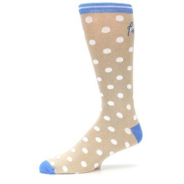 Image of Tan Blue White Dots XL Men's Dress Socks (side-2-10)