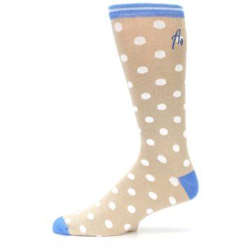 Image of Tan Blue White Dots XL Men's Dress Socks (side-2-11)
