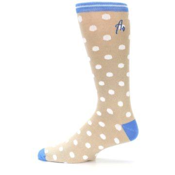 Image of Tan Blue White Dots XL Men's Dress Socks (side-2-12)