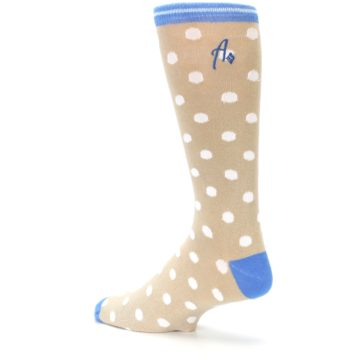 Image of Tan Blue White Dots XL Men's Dress Socks (side-2-back-14)