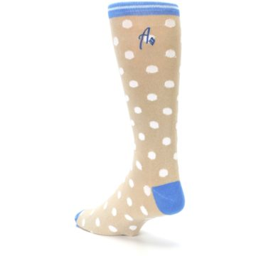 Image of Tan Blue White Dots XL Men's Dress Socks (side-2-back-15)