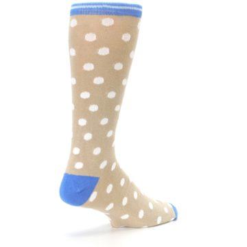 Image of Tan Blue White Dots XL Men's Dress Socks (side-1-back-22)