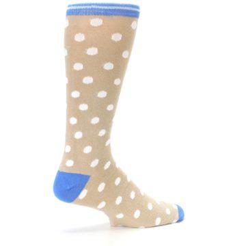 Image of Tan Blue White Dots XL Men's Dress Socks (side-1-23)