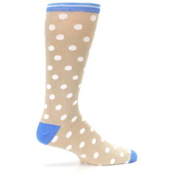 Image of Tan Blue White Dots XL Men's Dress Socks (side-1-24)