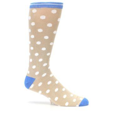Image of Tan Blue White Dots XL Men's Dress Socks (side-1-25)