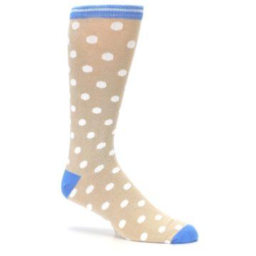 Image of Tan Blue White Dots XL Men's Dress Socks (side-1-26)